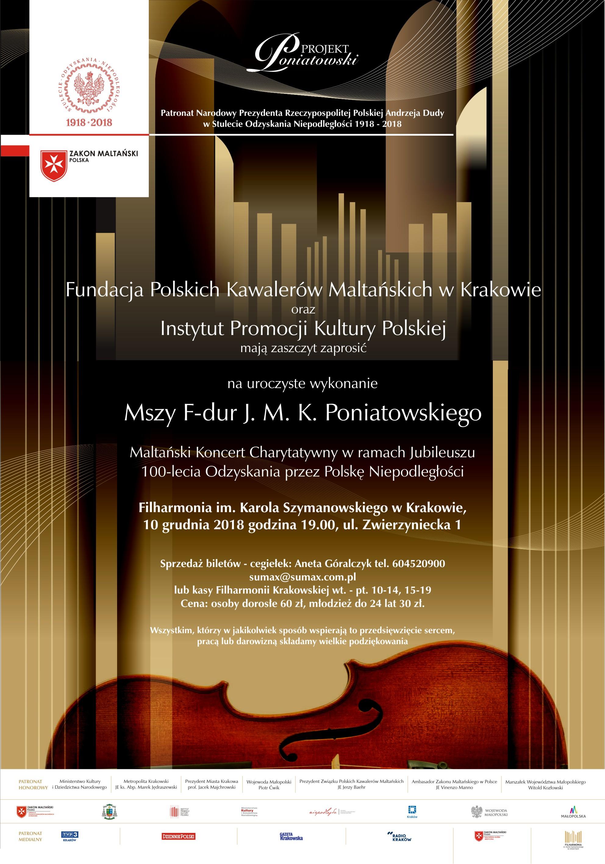 Maltański Koncert Charytatywnyw ramach jubileuszu 100-lecia odzyskania przez Polskę niepodległości