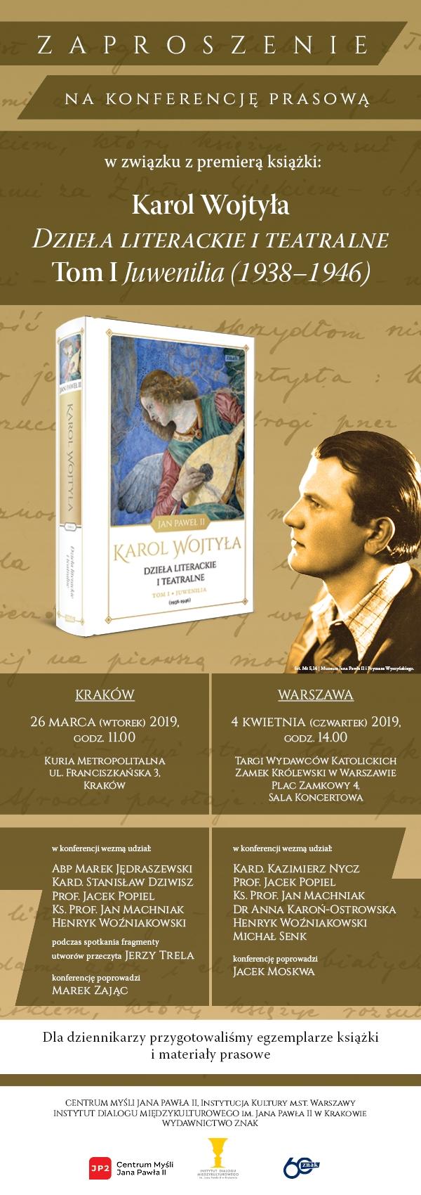 Premiera Dzieł Literackich Karola Wojtyły Konferencja