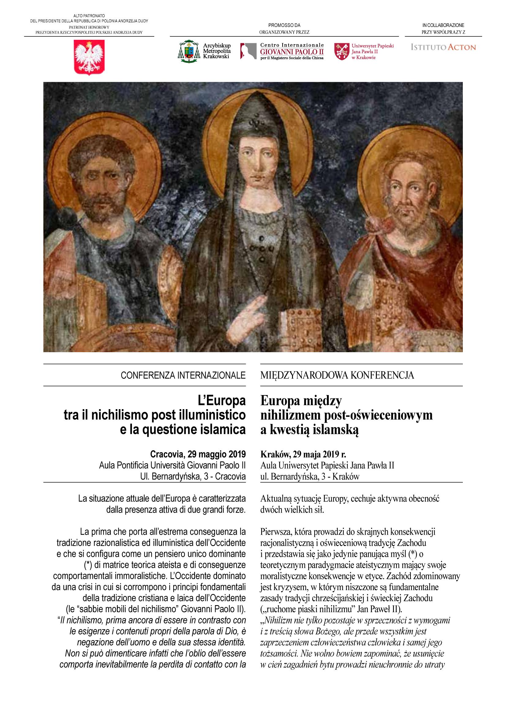 """Konferencja """"Europa między nihilizmem post-oświeceniowym a kwestią islamską"""