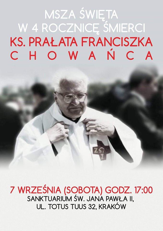 Msza św. w 5. rocznicę śmierci ks. Prałata Franciszka Chowańca oraz w intencji KWC