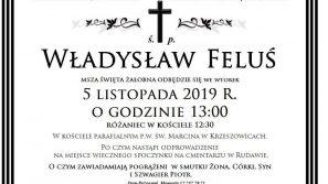 Zmarł śp. +Władysław Feluś, ojciec ks. Grzegorza Felusia, dyrektora Ośrodka Edukacyjno-Rekolekcyjnego im. ks. kard. Karola Wojtyły w Zembrzycach