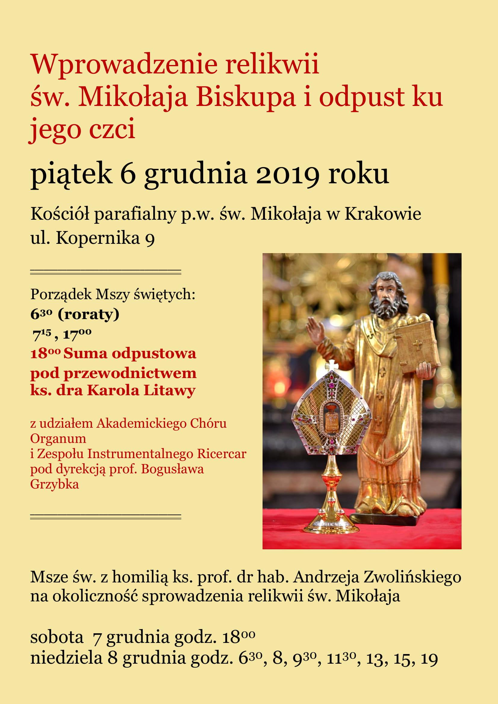 Odpust ku czci św. Mikołaja Biskupa