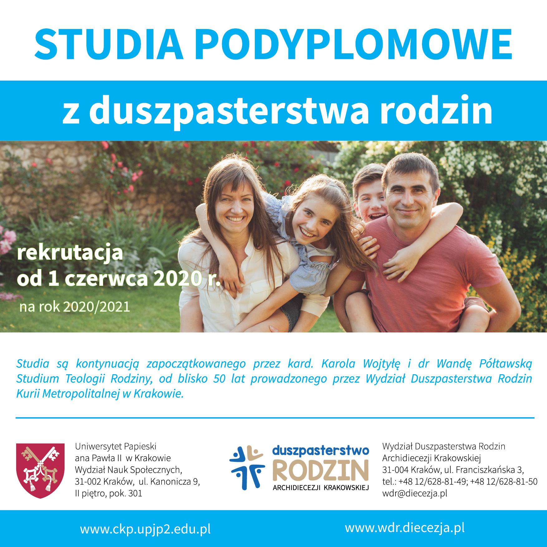 Studia podyplomowe z duszpasterstwa rodzin – rekrutacja od 1 czerwca 2020 r.