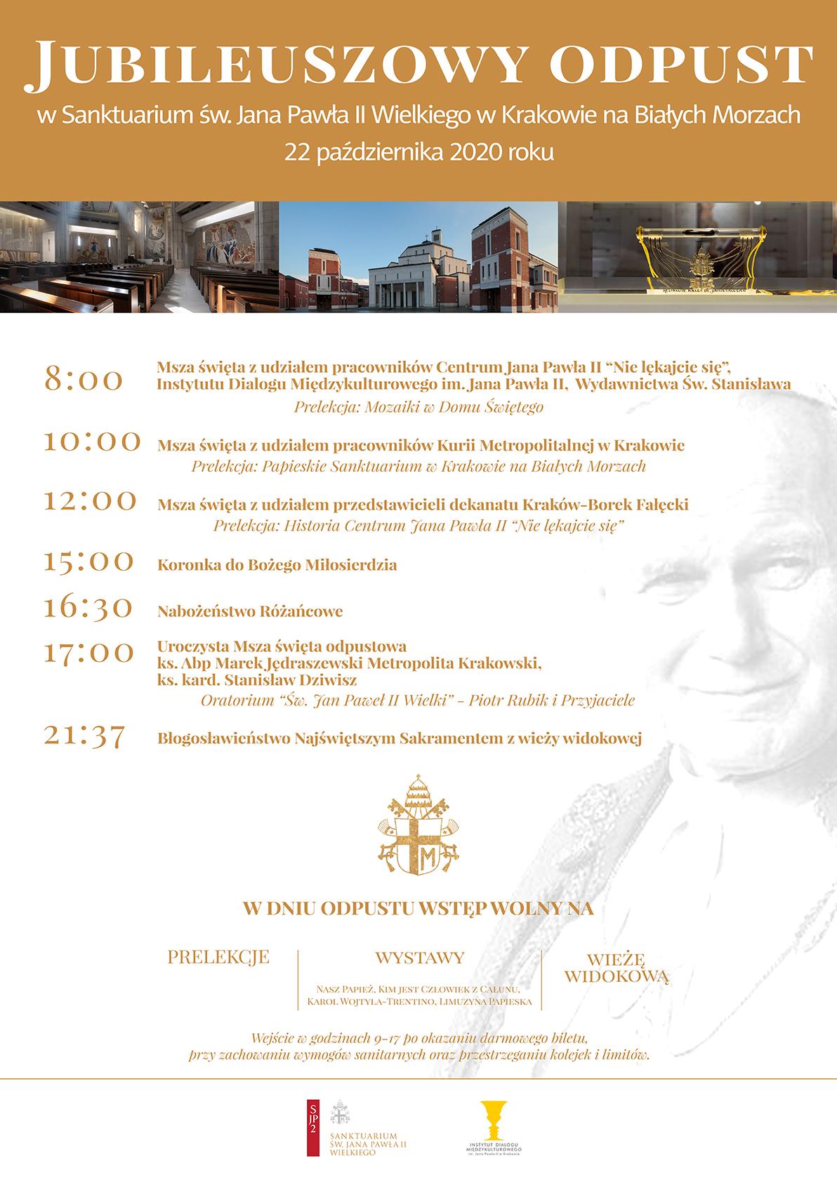 Jubileuszowy odpust w Sanktuarium św. Jana Pawła II